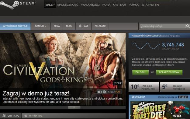 Steam - fragment usługi Valve /Informacja prasowa