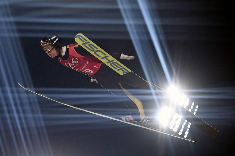 Stefan Kraft na olimpijskiej skoczni w Pjongczangu /AFP