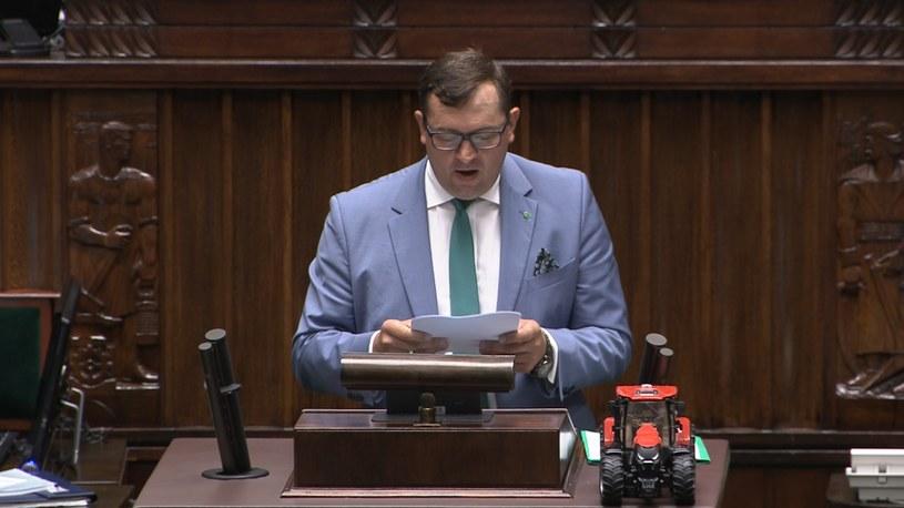 Stefan Krajewski (PSL) na mównicy sejmowej /Polsat News