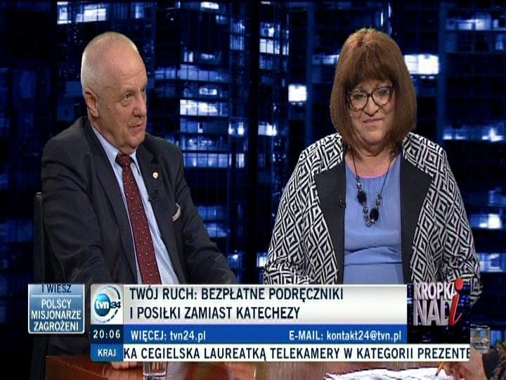 Stefan Niesiołowski i Anna Grodzka /TVN24/x-news