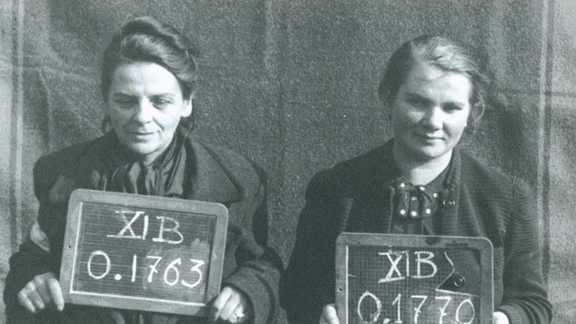 Stefania Aluchna (po lewej) w obozie jenieckim z tabliczką z numerem obozowym Xi B 0.1763, 1944 r. /Archiwum Akt Nowych