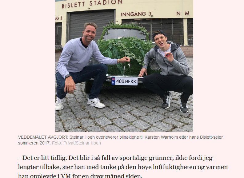 Steinar Hoen, Karsten Warholm i samochód / www.vg.no /
