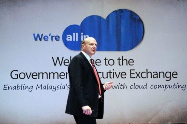Steve Ballmer, szef Microsoft - ta firma od dawna wspiera cloud computing /AFP