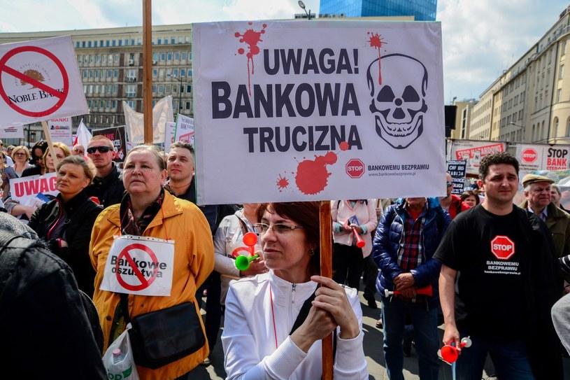 Stop Bankowemu Bezprawiu - protest w Warszawie pod NBP i KNF /Mariusz Gaczyński /East News