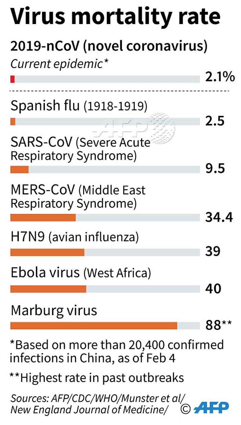 Stopień zjadliwości poszczególnych wirusów /AFP