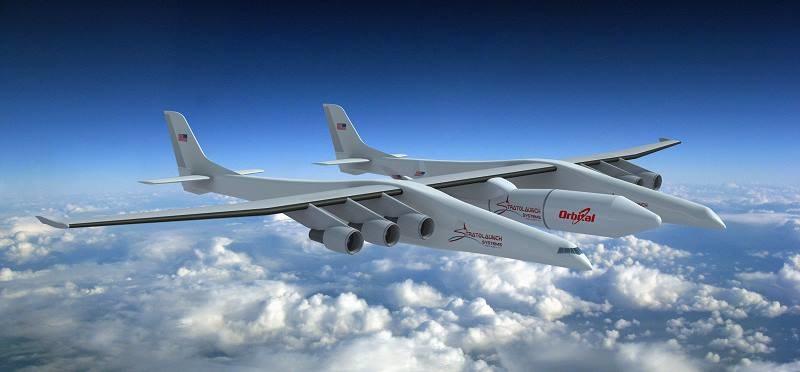 Stratolaunch - grafika przedstawiająca wygląd samolotu /materiały prasowe