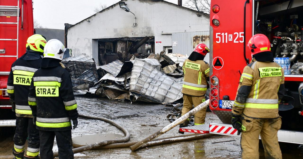 Strażacy dogaszają pożar tartaku w Przeciszowie