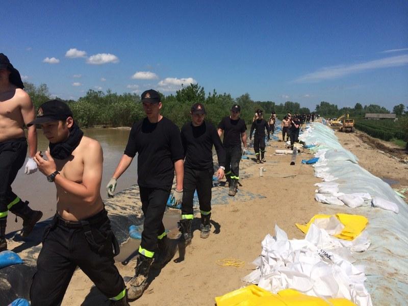 Strażacy na wałach w Braciejowicach /Krzysztof Kot /RMF FM