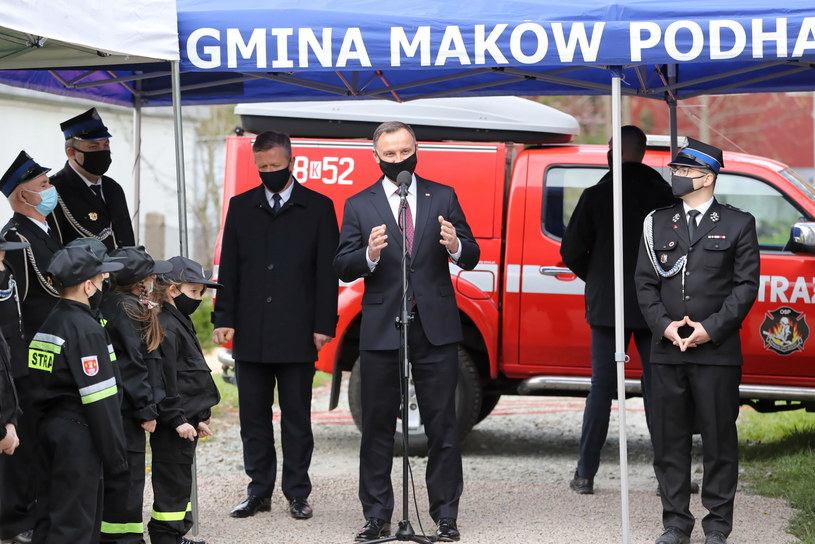 Strażacy ochotnicy są sercem polskiej straży - powiedział prezydent Andrzej Duda /Grzegorz Momot /PAP