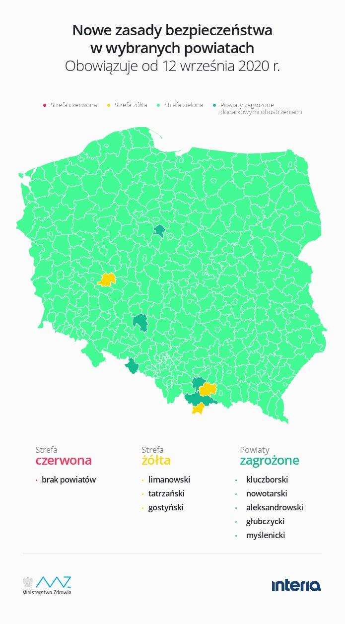 Strefy żółte i czerwone obowiązujące od 12 września /INTERIA.PL