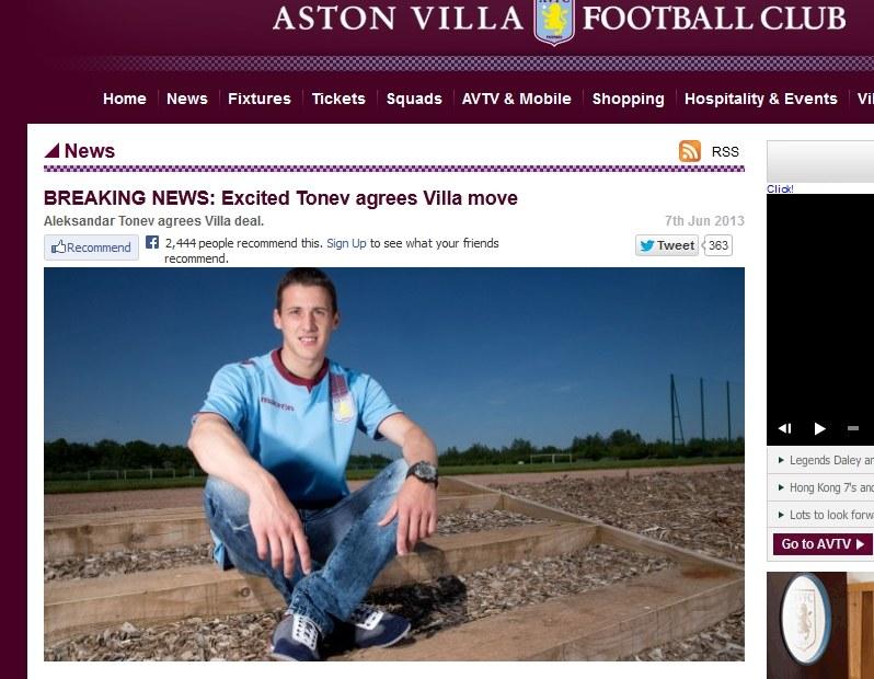 Strona Aston Villi prezentuje nowego piłkarza /Internet