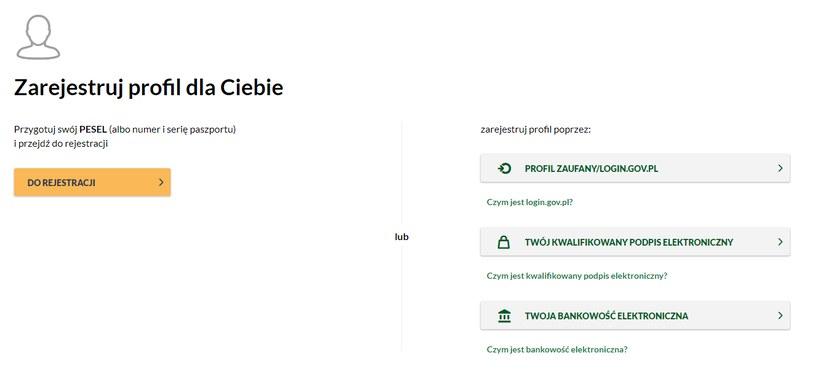 Strona do założenia profilu PUE w ZUS. Fot. ZUS /