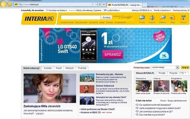 Strona główna INTERIA.PL w wersji na Internet Expolorer 9 - browser pozytywnie zaskakuje /INTERIA.PL