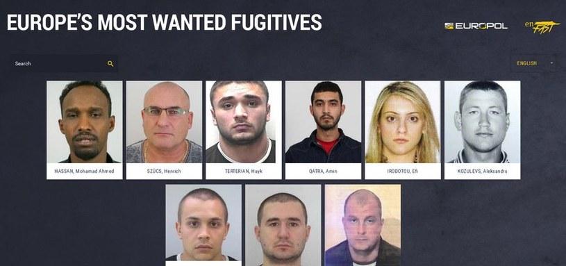 """Strona internetowa """"Europe's Most Wanted Fugitives"""" /Policja"""