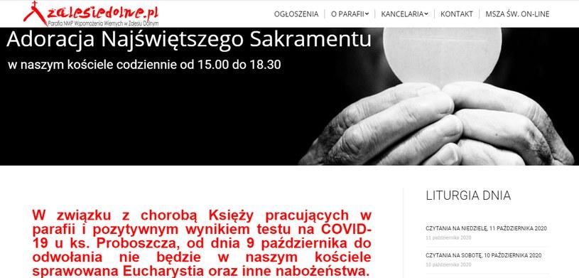 Strona internetowa parafii w Zalesiu Dolnym /