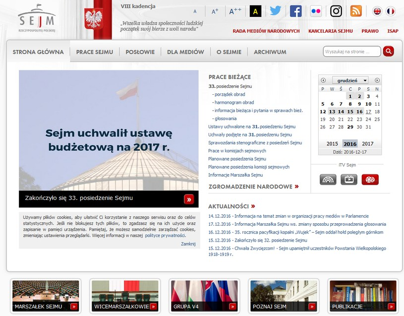 Strona internetowa Sejmu /