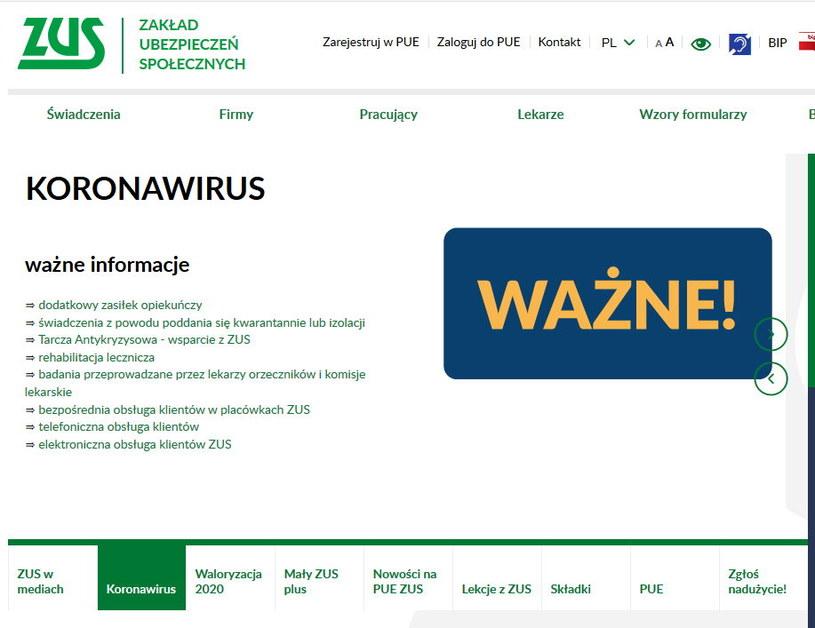 Strona internetowa ZUS-u nie działa tak, jak powinna. Powodem jest duże zainteresowanie wnioskami w ramach Tarczy Antykryzysowej /materiały promocyjne