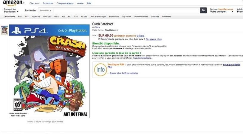 Strona katalogowa gry Crash Bandicoot w sklepie Amazon /materiały prasowe