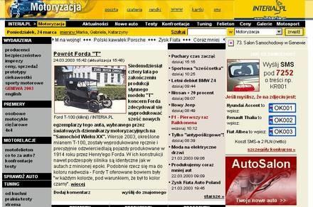 Strona Motoryzacji z III 2003 roku / Kliknij /INTERIA.PL