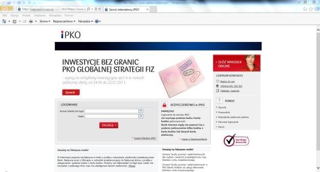 Strona phishingowa - do złudzenia przypominająca oryginalny serwis iPKO banku PKO BP. /materiały prasowe