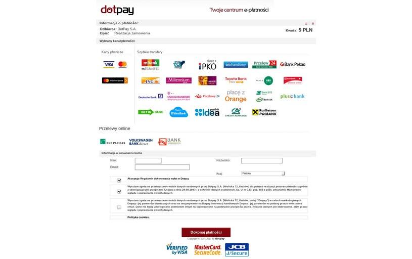 Strona podszywającą się pod bramkę płatności Dotpay. Fot. CERT Polska /materiały prasowe