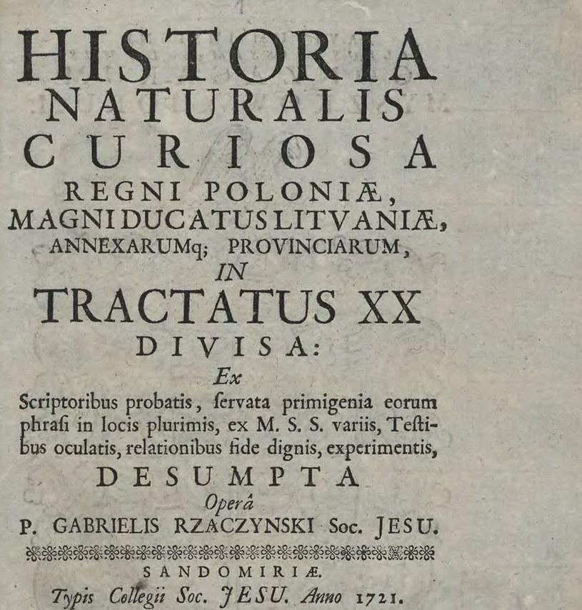 """Strona tytułowa """"Historia naturalis curiosa Regni Poloniae"""", która zawierała opis pierwszego krakowskiego diabła /materiały prasowe"""