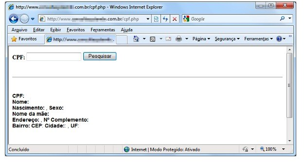 Strona WWW oferująca dostęp do danych osobowych Brazylijczyków /materiały prasowe