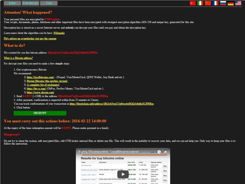 Strona www podmieniona w wyniku ataku CTB-Locker /materiały prasowe