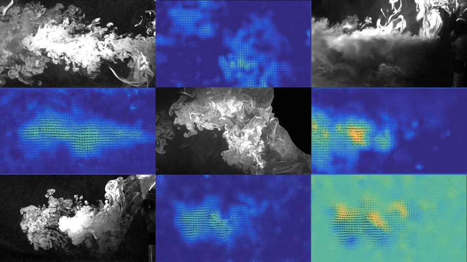 Strumienie aerozolu wydzielane podczas wypowiadania różnych zwrotów /Princeton University /Materiały prasowe