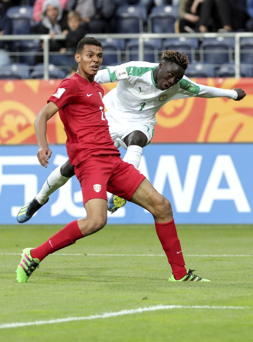 Strzela piłkarz Senegalu Amadou Sagna /Jacek Szydłowski /PAP