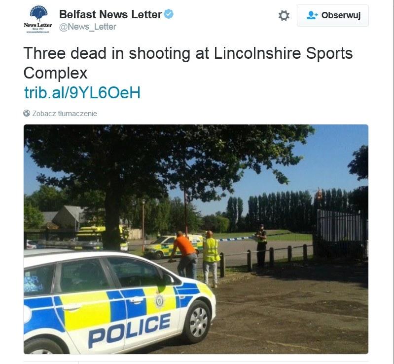 Strzelanina w Lincolnshire. Trzy osoby nie żyją /Twitter