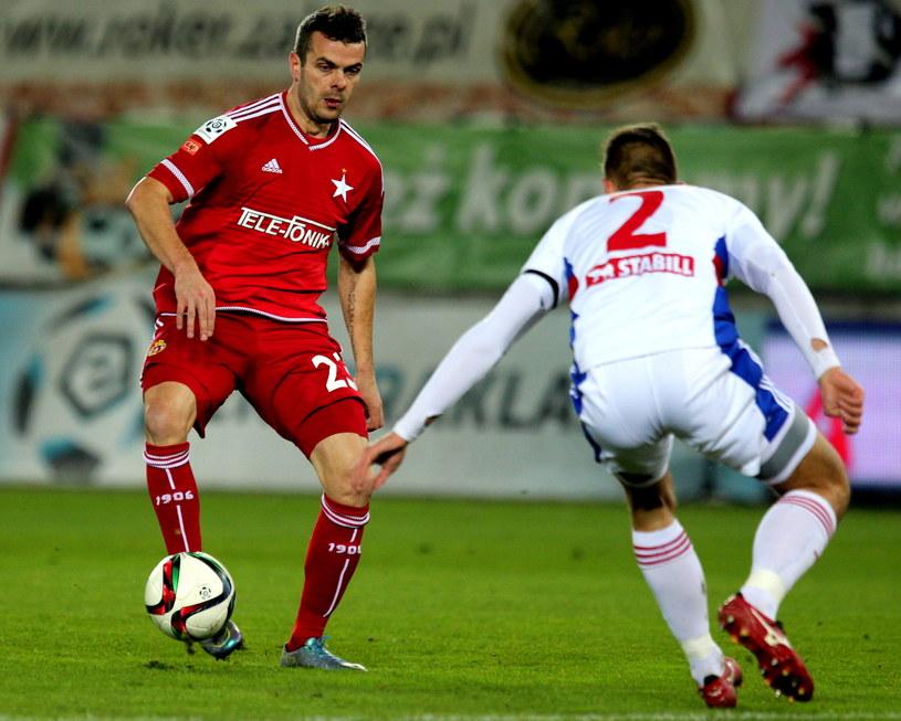 Strzelcy bramek: Paweł Brożek (z lewej) i Bartosz Kopacz /Andrzej Grygiel /PAP