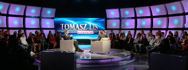 """Studio programu """"Tomasz Lis na żywo"""" /Grzegorz Dymarski /Tele Tydzień"""