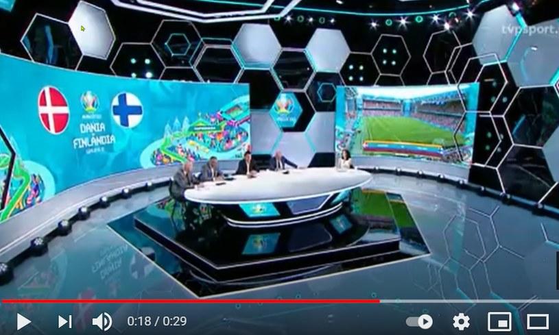 Studio TVP przy okazji meczu Dania-Finlandia /YouTube.com /
