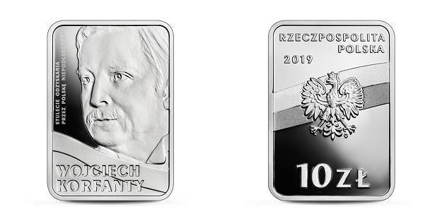 Stulecie odzyskania przez Polskę niepodległości - Wojciech Korfanty, 10 zł, rewers (L) i awers (P) /NBP