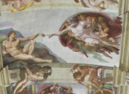 """""""Stworzenie Adama"""", fragment fresku z Kaplicy Sykstyńskiej w Rzymie (Bóg Ojciec z prawej) /AFP"""