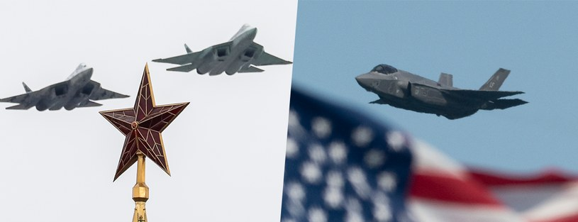 Su-57 kontra  F-35 - który jest lepszy? Fot. Grigory Dukor/TASS/Getty Images i Yichuan Cao/NurPhoto/Getty Images /Getty Images