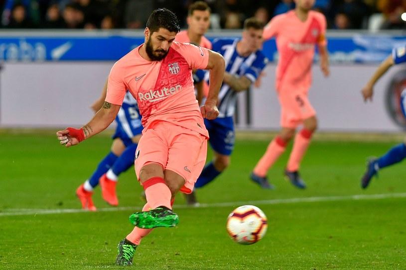 Suarez strzela drugiego gola dla Barcelony /AFP