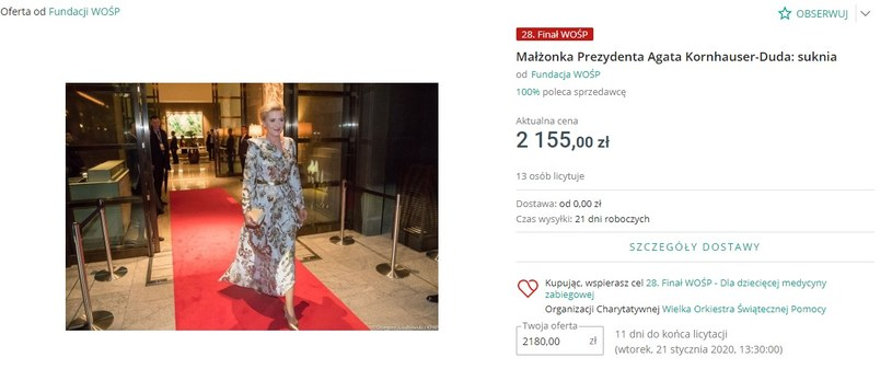 Sukienka Agaty Dudy przekazana na Wielką Orkiestrę Świątecznej Pomocy /mat. prasowe Allegro /materiał zewnętrzny