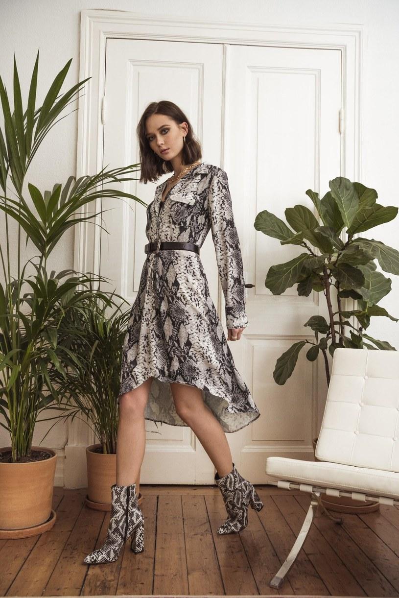 sukienka w printy /materiał zewnętrzny
