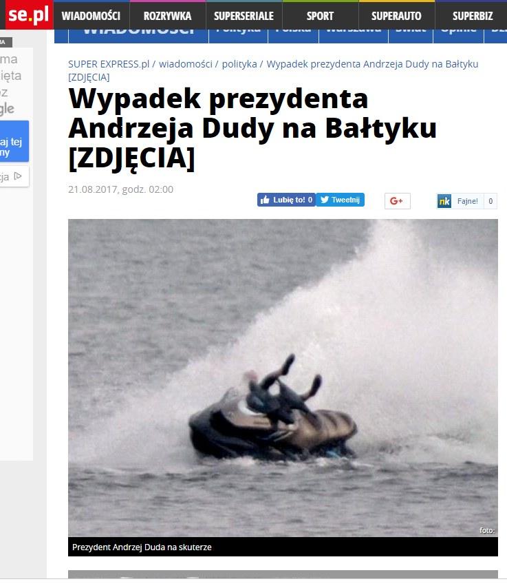 """Super Express"" opisuje ""wypadek"" prezydenta Andrzeja Dudy /Super Express /"