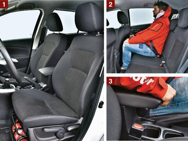 SUZUKI [1] Wygodny (ale dość płaski) fotel oferuje wysokie oparcie. [2] Z tyłu jest dużo miejsca nad głowami i na nogi (siedzący za fotelem odsuniętym 1 m od pedałów ma do dyspozycji 73 cm). [3] Podłokietnik środkowy z przodu, choć wysuwany, zlokalizowano nieco zbyt daleko od koła kierownicy. /Motor