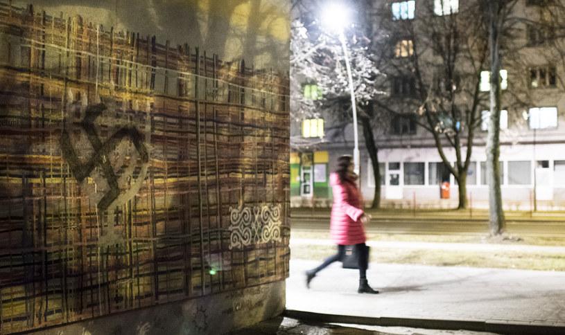 Swastyka namalowana przez nieznanych sprawców w centrum Białegostoku na muralu promującym wielokulturowość /Michał Kość /Agencja FORUM