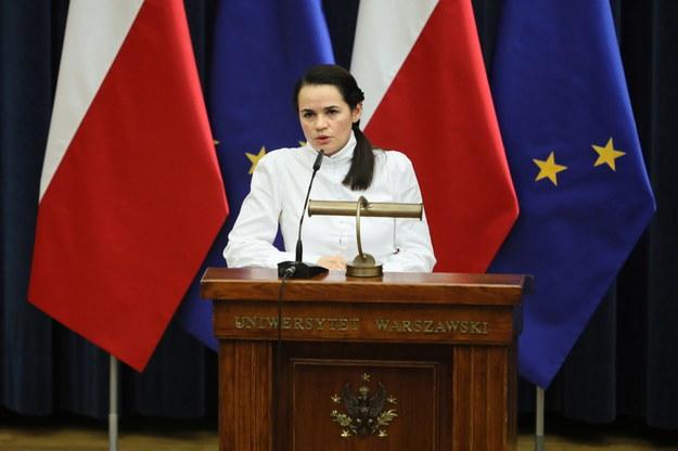 Swiatłana Cichanouska podczas spotkania ze studentami na Uniwersytecie Warszawskim / Leszek Szymański    /PAP