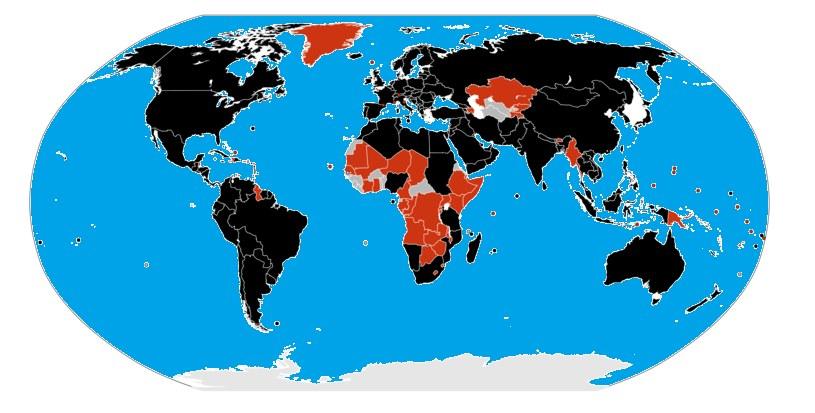 Światowy zasięg świńskiej grypy w roku 2009 /Wikimedia Commons /domena publiczna