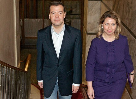 Swietłana Miedwiediewa z mężem. /AFP
