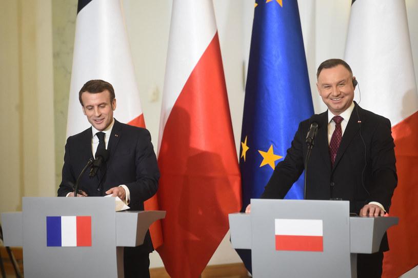 Swoje wystąpienie w Warszawie Macron rozpoczął... po polsku, czym wywołał serdeczny śmiech zgromadzonych /Zbyszek Kaczmarek /Reporter