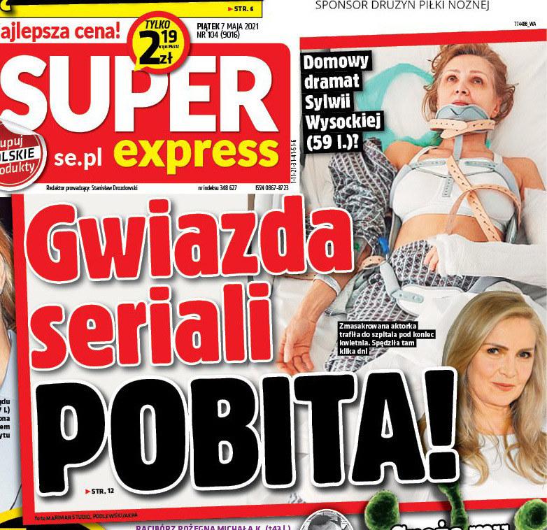 """Sylwia Wysocka na okładce """"Super Expressu"""" /Super Express /materiał zewnętrzny"""