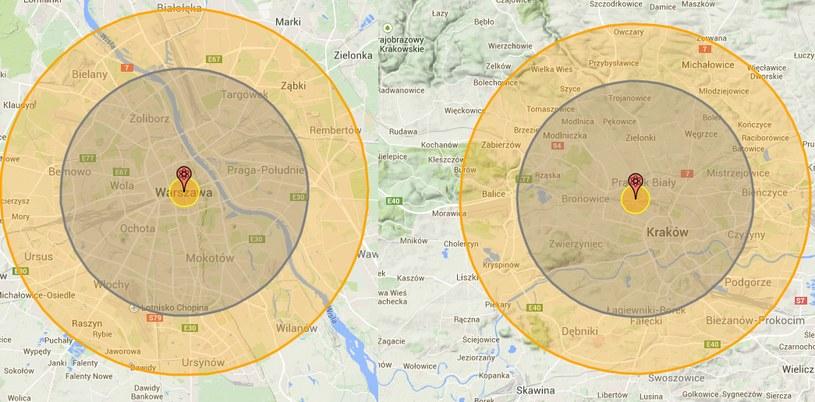 Symulacja:obszar możliwych zniszczeń w dwóch największych miastach Polski, w Warszawie (po lewej) i Krakowie. Centralne pole oznacza rejon całkowitego zniszczenia, środkowe - większość budynków zostanie zniszczona, straty w ludziach ponad 50%. Zewnętrzne - ciężkie poparzenia i lekkie uszkodzenia budynków... /http://nuclearsecrecy.com /INTERIA.PL/materiały prasowe