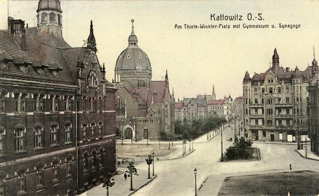 Synagoga Wielka w Katowicach. Początek XX wieku /Reprodukcja z archiwum FORUM /Agencja FORUM